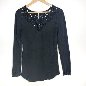 Free People Long Sleeve Cut Out Top